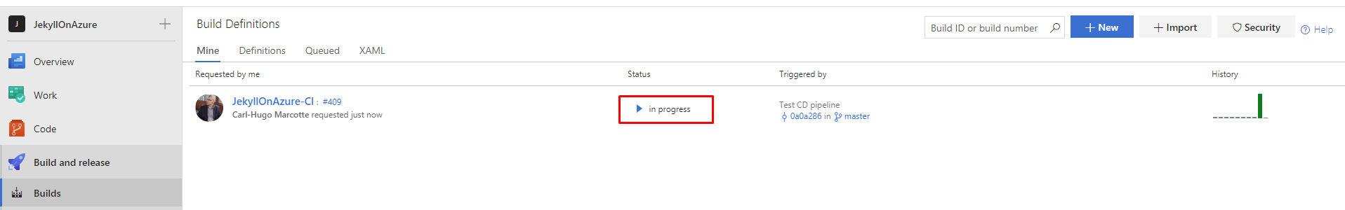 VSTS build in progress