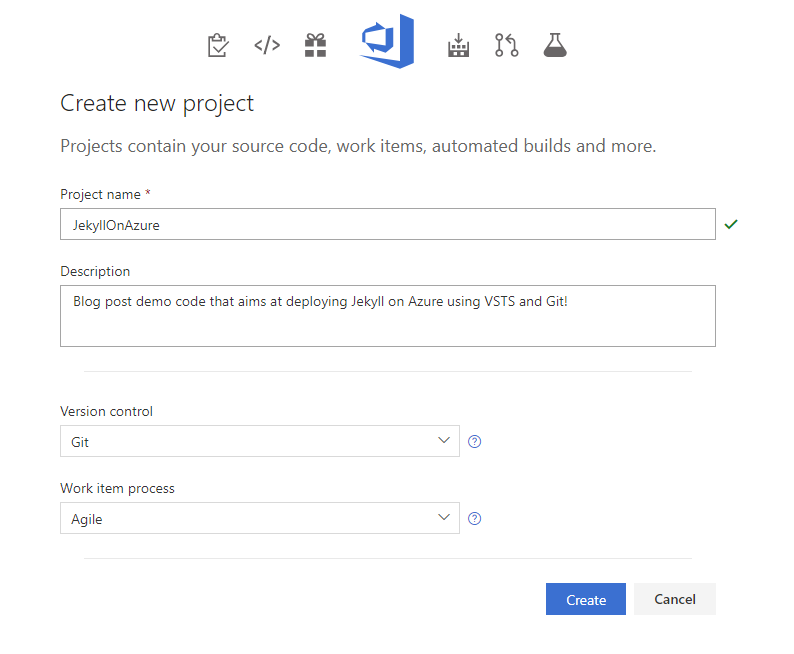 Create a VSTS project