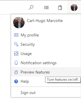 VSTS turn on and off preview features
