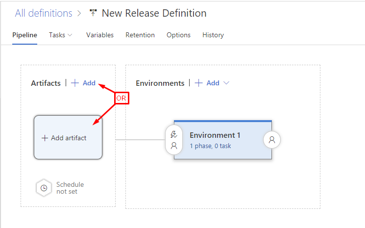 Add artifacts to a VSTS release definition