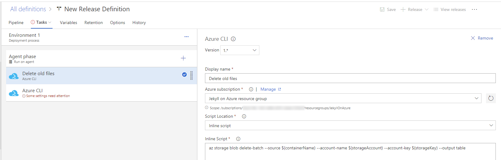 Delete Azure Blob files from VSTS release definition using Azure CLI