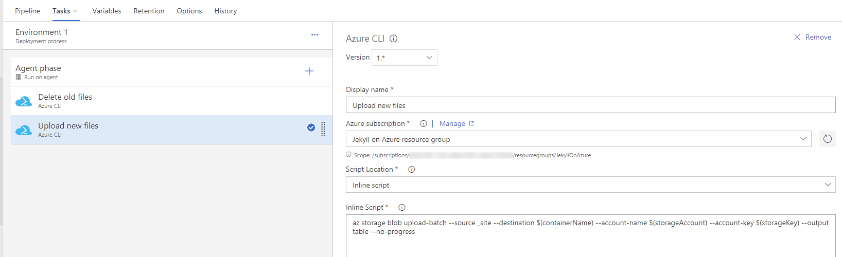 Upload build artifacts to Azure blob storage from VSTS release definition using Azure CLI