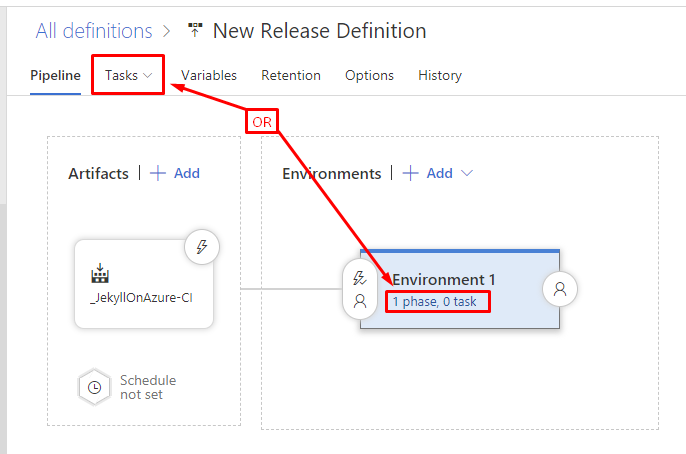 Open the VSTS release definition tasks