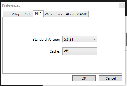 WAMP Preferences PHP