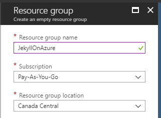 Create a new resource group
