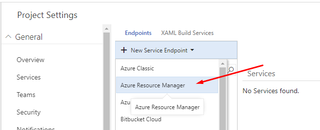 Add an Azure Resource Manager endpoint from VSTS
