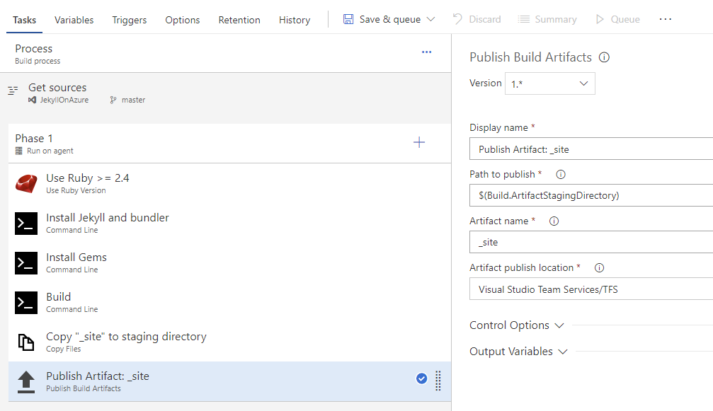 Configure Task 6: Publish Build Artifacts