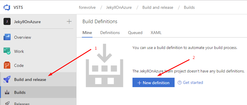 Create a new VSTS build definition