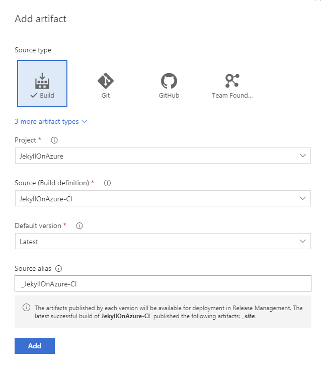 Choose build artifacts for a VSTS release definition