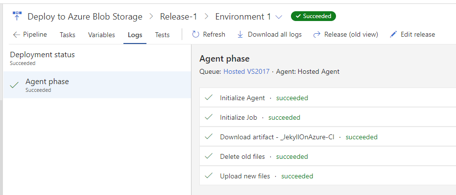 VSTS release is completed successfully from the logs tab