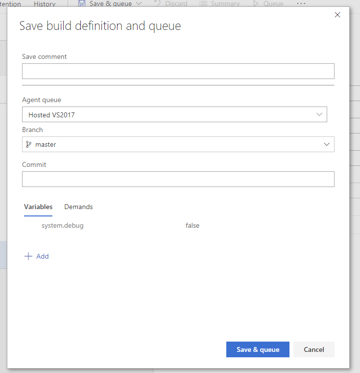 Save and queue VSTS build